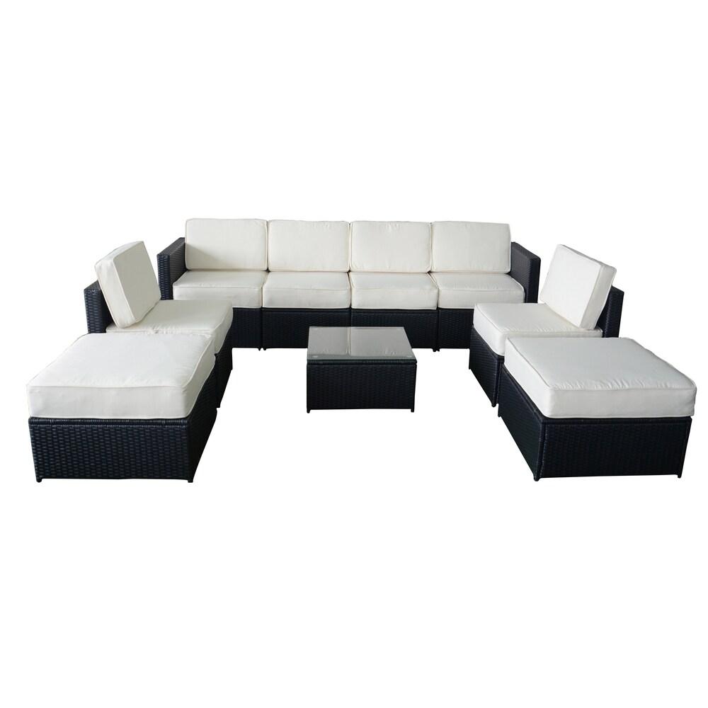 Mcombo 9 Piece Rattan Wicker Outdoor Patio Sectional Sofa