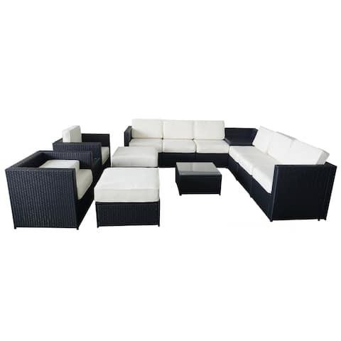 13 PC Cozy Outdoor Garden Patio Rattan Wicker Furniture Sectional Sofa