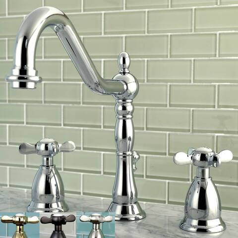 Victorian Cross-Handles Widespread Bathroom Faucet