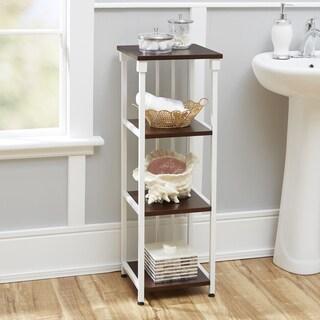 Mixed Material Bathroom Collection 4 Tier Floor Shelf