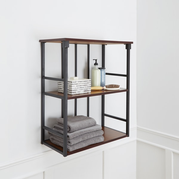 Good Mixed Material Bathroom Collection 3 Tier Wall Shelf