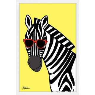 Marmont Hill - 'Zebra Hippy Head' by Brenda Courtice Framed Painting Print