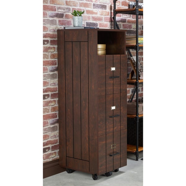Furniture Of America Ceris Rustic Slatted 3 Drawer Mobile