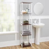 Mixed Material Bathroom Collection 5-Tier Linen Shelf