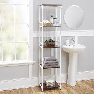 Mixed Material Bathroom Collection 5 Tier Linen Shelf