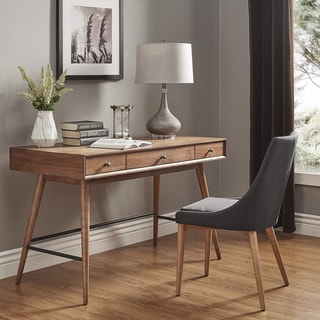 Aksel Brown Wood 3 Drawer Writing Desk INSPIRE Q Modern