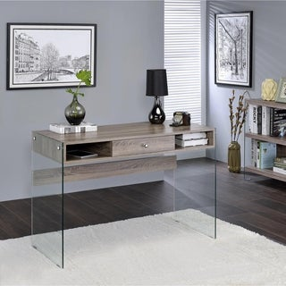 Acme Furniture Armon Glass and Gray Oak Desk