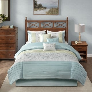 Madison Park Belle Aqua 7 Piece Embroidered Comforter Set