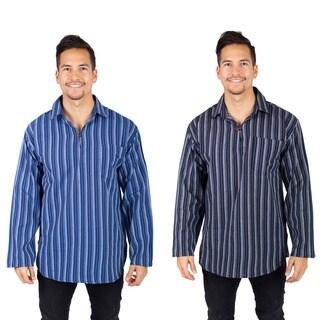 Men's Cotton Stripe Summer Long Sleeve Kurta Shirt