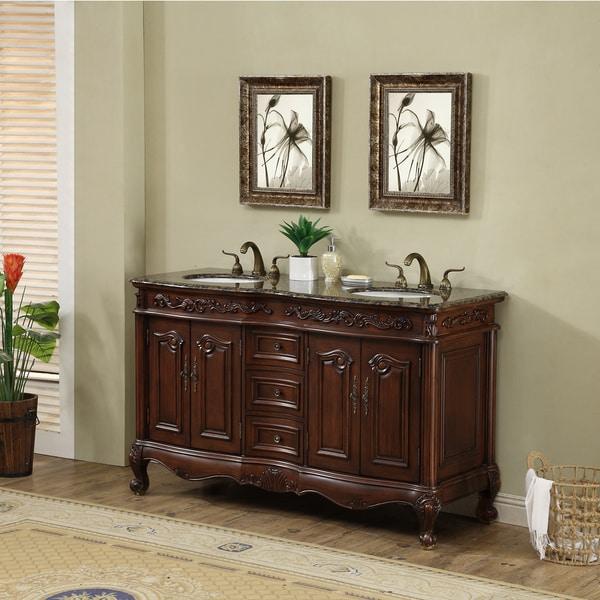 double sink vanity with granite top. Stufurhome 60 Inch Saturn Double Sink Vanity With Baltic Brown Granite Top