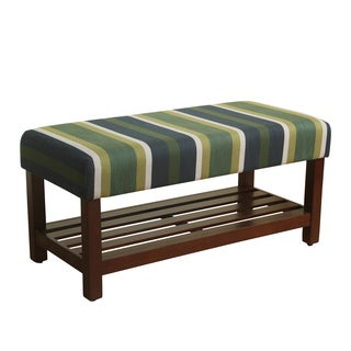 HomePop Upholstered Striped Wood Storage Bench