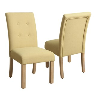 HomePop 4-button Tufted Soft Yellow Parsons Chair