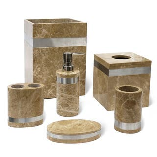Bathroom accessories for less overstock for Brown marble bathroom accessories