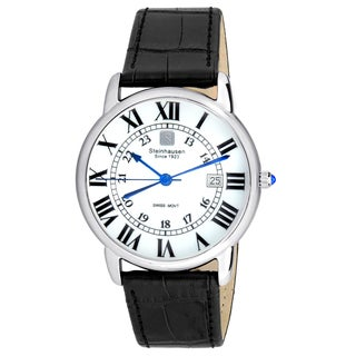 Steinhausen Men's S0718 Classic Delémont Swiss Quartz Stainless Steel Watch With Black Leather Band