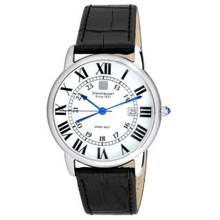 Steinhausen Men's S0718 Classic Delémont Swiss Quartz Stainless Steel Watch With Black Leather Band|https://ak1.ostkcdn.com/images/products/14163563/P20763867.jpg?impolicy=medium