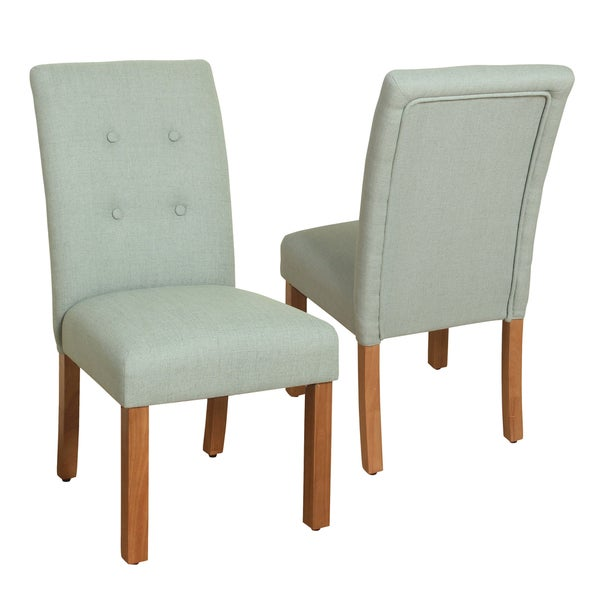 HomePop 4 Button Tufted Spa Blue Parsons Chair