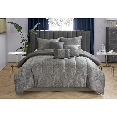 Casa Black Paisley Jacquard 7-piece Comforter Set