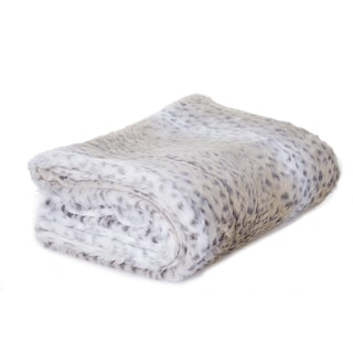 White Faux Fur Snow Leopard Throw