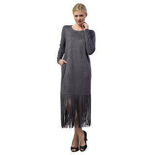 Morning Apple Women's Solid-color Suede Fringe Hem Dress