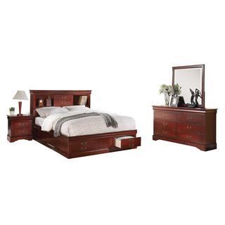 Cherry Acme Furniture Louis Philippe III 4-Piece Storage Bedroom Set
