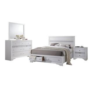 White Acme Furniture Naima 4-Piece Storage Bedroom Set