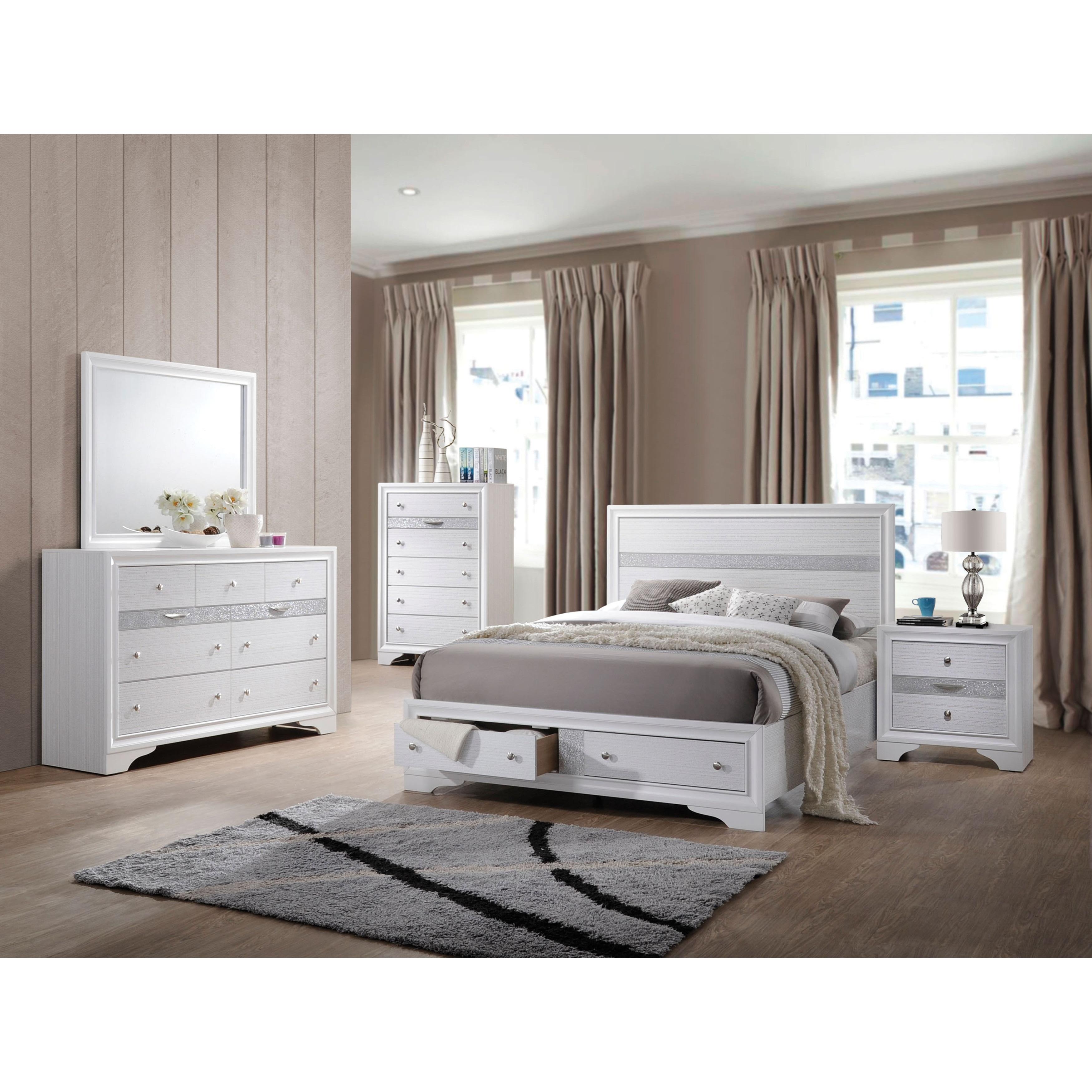 premium selection f941d 66343 White Acme Furniture Naima 4-Piece Storage Bedroom Set