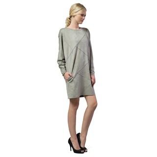Morning Apple Women's Grey Suede Patterned Dress