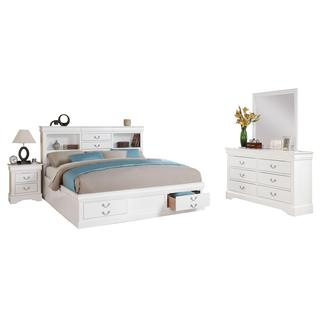 White Acme Furniture Louis Philippe III 4-Piece Storage Bedroom Set