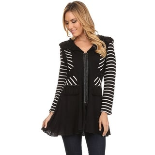 High Secret Women's Black and White Striped Braided Detail Ruffled Collar Zip-up Tunic Jacket