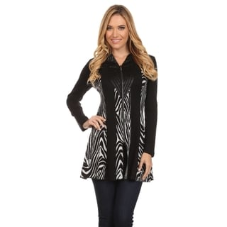 High Secret Women's Black and Zebra-print Zip-up Long-sleeved V-neck Tunic Jacket
