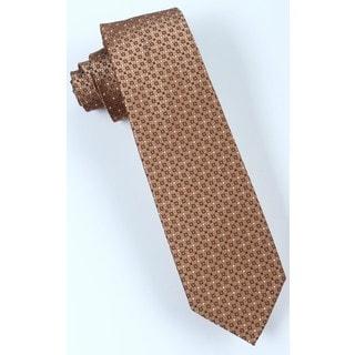 Brio Men's Microfiber Light Brown Patterned Tie