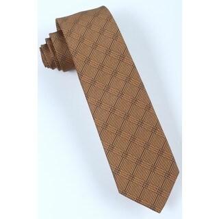 Brio Men's Microfiber Brown/Navy Patterned Tie