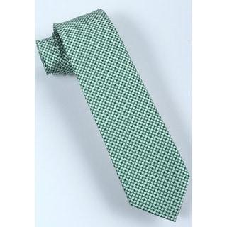 Brio Men's Microfiber Light Green Patterned Tie