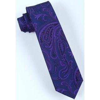 Brio Men's Microfiber Purple Paisley Dress Tie