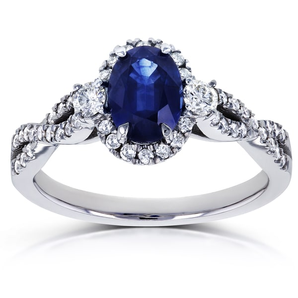Annello by Kobelli 14k White Gold Oval Blue Sapphire and 1/3ct TDW Diamond Halo Vintage Engagement Ring (G-H, I1-I2). Opens flyout.