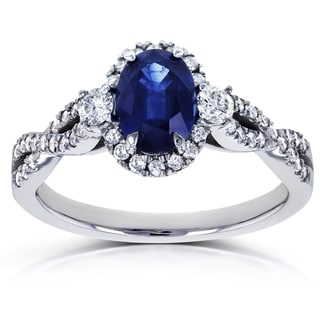 Annello by Kobelli 14k White Gold Oval Blue Sapphire and 1/3ct TDW Diamond Halo Vintage Engagement Ring (G-H, I1-I2)