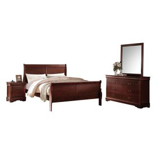 Acme Furniture Louis Philippe 4-Piece Bedroom Set, Cherry
