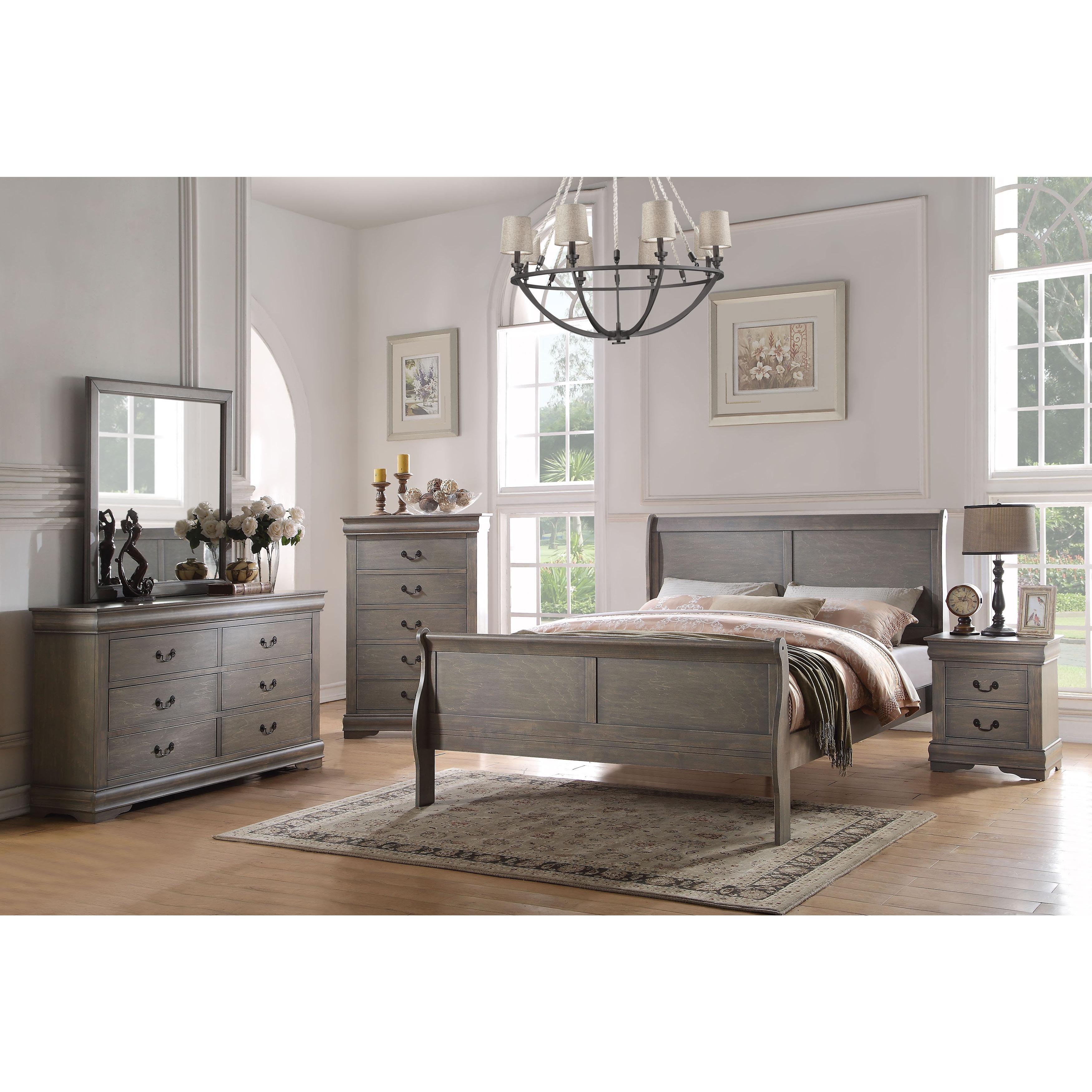 Acme Furniture Louis Philippe 4-Piece Bedroom Set, Antique Gray