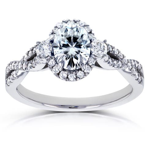 Annello by Kobelli 14k White Gold Oval Moissanite and 1/3ct TDW Diamond Halo Vintage Engagement Ring (G-H, I1-I2)