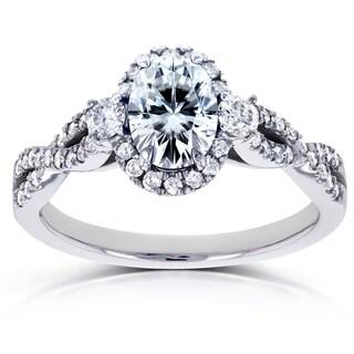 Annello by Kobelli 14k White Gold Oval Moissanite and 1/3ct TDW Diamond Halo Vintage Engagement Ring (G-H, I1-I2)