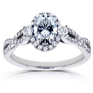 Annello by Kobelli 14k White Gold Oval Forever One GHI Moissanite and 1/3ct TDW Diamond Halo Vintage Engagement Ring