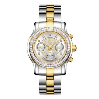 JBW Woman's Laurel Two-tone 18k Goldplated Stainless Steel Diamond Accent Crystal Bezel Swiss Quartz Movement Watch