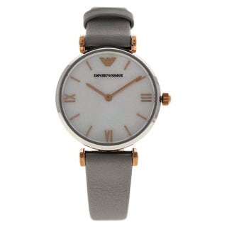 Emporio Armani Women's AR1965 Gianni T-Bar Gray Leather Strap Watch