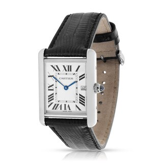 preowned cartier tank louis w1540956 mens watch in 18k white gold