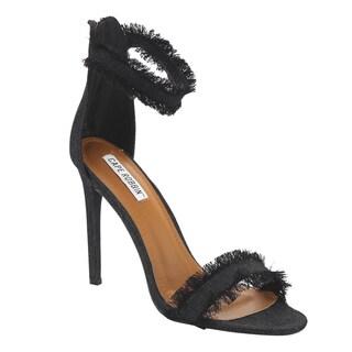 Cape Robbin Women's FG22 Black Denim Fringed Ankle-cuff High-heel Sandals