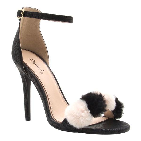 0d6c526690b Shop Qupid Women s FG57 Faux Leather Pom-pom Strap Stiletto-heel ...