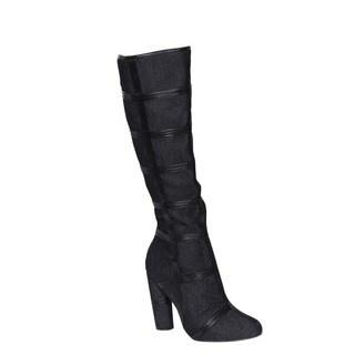 Cape Robin Women's Denim Knee-high Chunky Heel Dress Boots
