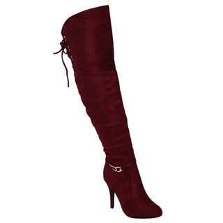 Forever IC54 Women's Lace Up Wrapped Stiletto Heel Over-the-knee Boots
