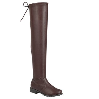 Forever Women's IC25 Faux-leather Drawstring Wrapped Chunk-heel Over-the-knee Boots
