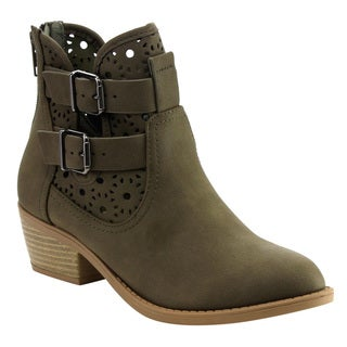Soda Women's IC77 Olivecolored Faux-leather Cutout Buckle Strap Back-zipper Stacked Block-heel Booties